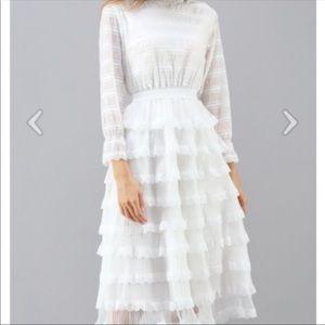Chicwish Long Sleeve White Tiered Ruffle Dress